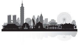 Het silhouet van de de stadshorizon van Taipeh Taiwan royalty-vrije illustratie