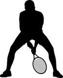 Het silhouet van de tennisspeler Stock Foto's