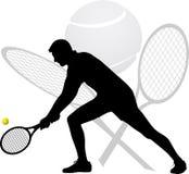 Het silhouet van de tennisspeler Stock Afbeeldingen
