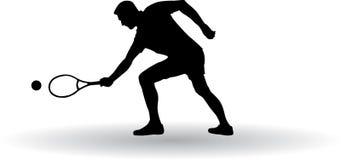 Het silhouet van de tennisspeler Royalty-vrije Stock Afbeeldingen