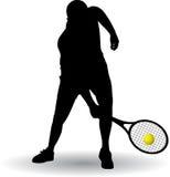 Het silhouet van de tennisspeler Stock Afbeelding