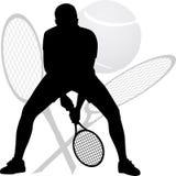 Het silhouet van de tennisspeler Royalty-vrije Stock Foto's