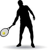 Het silhouet van de tennisspeler Stock Foto