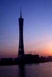 Het Silhouet van de Toren van Guangzhou Stock Afbeelding