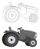 Het silhouet van de tractor Royalty-vrije Stock Foto's