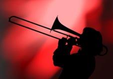 Het silhouet van de trombonist royalty-vrije stock foto's