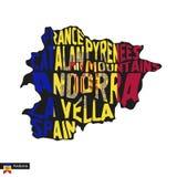 Het silhouet van de typografiekaart van Andorra in zwarte en vlagkleuren royalty-vrije illustratie