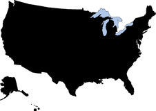 Het silhouet van de V.S. Royalty-vrije Stock Afbeeldingen