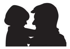 Het silhouet van de vader en van het kind Royalty-vrije Stock Afbeelding