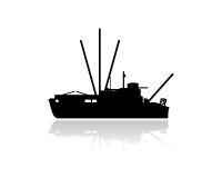 Het silhouet van de vissersvaartuigboot Stock Afbeelding