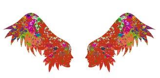 Het silhouet van de vleugels van vrouwelijke gezichten stock illustratie