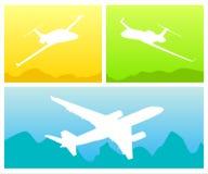 Het silhouet van de vliegtuigen Stock Fotografie