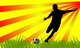 Het silhouet van de voetballer Stock Afbeeldingen