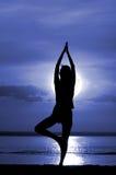 Het silhouet van de vrouwen mediteert Stock Foto
