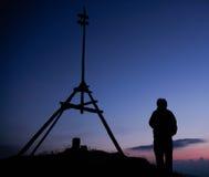 Het silhouet van de wandelaar Royalty-vrije Stock Afbeeldingen