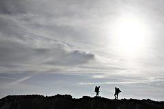 Het silhouet van de wandelaar Royalty-vrije Stock Foto's