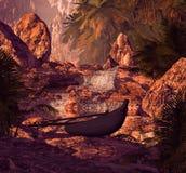 Het Silhouet van de Waterval van de kraanbalk Stock Fotografie