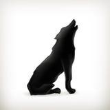 Het silhouet van de wolf Stock Fotografie