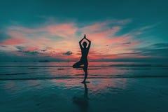 Het silhouet van de yogavrouw op overzeese kust stock afbeeldingen