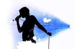 Het silhouet van de zanger Stock Afbeeldingen