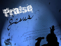 Het Silhouet van de Zanger van het evangelie op Achtergrond Grunge Stock Afbeeldingen