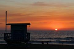 Het Silhouet van de de zomerzonsondergang, Torrance State Beach, de Provincie van Los Angeles, Californië Stock Foto