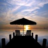 Het silhouet van de zonsondergang Royalty-vrije Stock Foto's