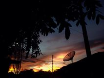 Het silhouet van de zonsondergangschemering Stock Afbeelding