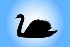 Het silhouet van de zwaan Stock Afbeelding