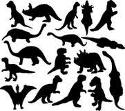 Het silhouet van Dinosaurus Stock Foto's