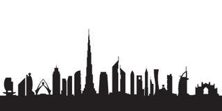Het silhouet van Doubai tegen dag Stock Fotografie