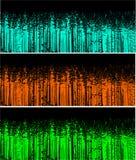 Het silhouet van drie kleuren bosbomen Stock Afbeeldingen