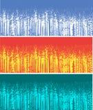 Het silhouet van drie kleuren bosbomen Stock Foto's