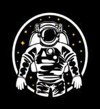 Het silhouet van een astronaut in een spacesuit in kosmische ruimte vector illustratie