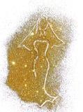 Het silhouet van een bruid in een lange kleding en in sluier van gouden schittert Stock Afbeeldingen