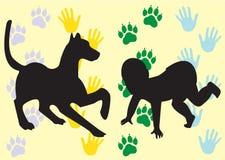 Het silhouet van een hond en een baby Royalty-vrije Stock Afbeelding