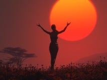 Het silhouet van een meisje Royalty-vrije Stock Foto's