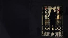 Het silhouet van een mens opent de schuifdeuren stock video