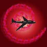 Het silhouet van een vliegtuig/nam bloemblaadjes toe royalty-vrije stock afbeeldingen