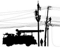 Het silhouet van het elektriciteitsvoorzieningsonderhoud Stock Foto