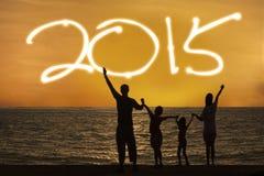 Het silhouet van familie geniet van nieuw jaar Royalty-vrije Stock Foto's
