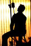 Het Silhouet van filmspotboy Stock Afbeeldingen