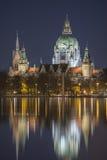 Het Silhouet van Hanover bij avond Royalty-vrije Stock Afbeeldingen
