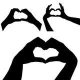 Het silhouet van harthanden Royalty-vrije Stock Afbeeldingen