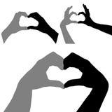 Het silhouet van harthanden Stock Afbeelding