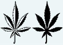 Het silhouet van het cannabisblad. Marihuana. Beeld stock illustratie