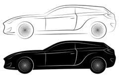 Het Silhouet van het conceptenvoertuig Vectorautooverzichten Stock Afbeeldingen