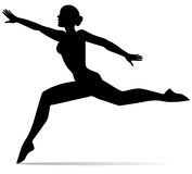 Het silhouet van het dansersmeisje Stock Afbeeldingen