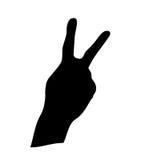 Het silhouet van het de handsymbool van de overwinning Stock Fotografie