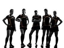 Het silhouet van het de spelersteam van rugbyvrouwen Stock Afbeelding